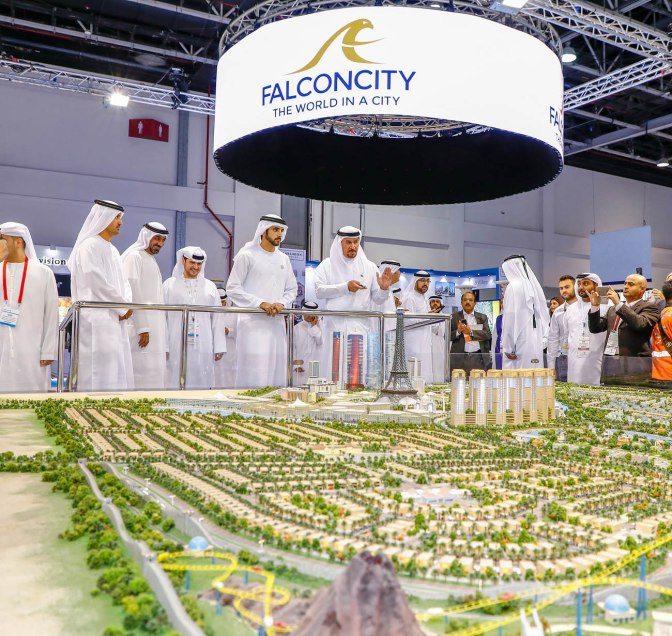 HH Sheikh Hamdan visits Falconcity of Wonders stand at Cityscape Global 2018